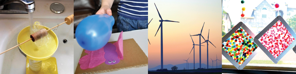 Earth Week banner with hyrdopower experiment, butterfly craft, wind turbines and suncatchers